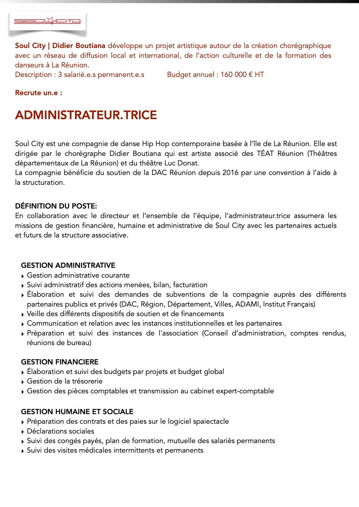 Offre d'emplois. Post Administrateur.trice. Soul City p.1